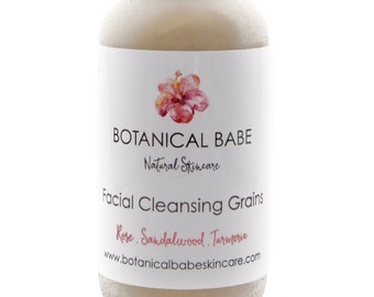 Facial Cleansing Grains - Exfoliating Face Polish with Rice Bran, Rosehip, Rose Petal, Sandalwood, Turmeric, Clay