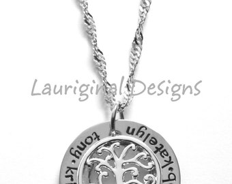 Family tree necklace - Mothers necklace - Childrens names - hand stamped stainless steel