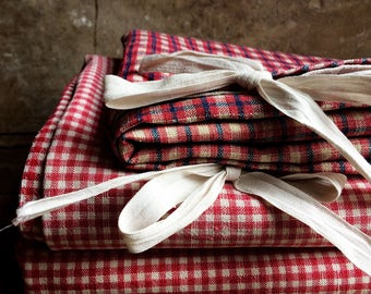 French Antique Homespun Kelsch Fabric, Pillow Cover. Alsacian Kelsch Cradle Size Duvet Covers. Handloomed French Linen Farmhouse Fabrics.