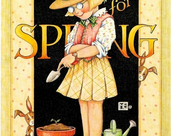 Mary Engelbreit Prints Waiting For Spring Planting Scrapbooking Gardening Spring Flowers Girl Glasses Christian prints Religious art