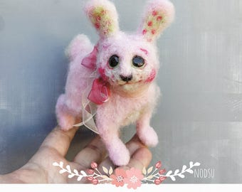 Felted pink Easter bunny, needle felted, artist bunny, polka dots, posable sculpture, cute posable animal figurine, miniature rabbit