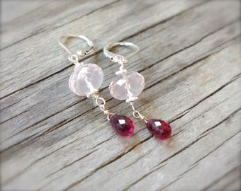 SALE - Rose quartz earrings with pink tourmaline Sterling silver pink tourmaline earrings w rose quartz Wire wrapped pink briolette earrings