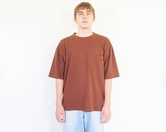 Boxy Brown Oversize Pocket Tee