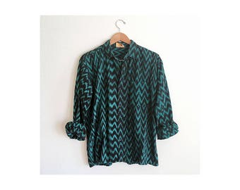 Teal Green & Black Zigzag Woven Cotton Shirt + Vintage 90s Guatemalan Souvenir Shirt + Guatemala Knit Cotton Button Up Shirt + Ikat Shirt