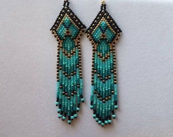 Seed Beaded Native American Style Earring Shoulder Duster Black, Turquoise  Gold Brick Stitch, Gypsy, Boho, Peytote Native Great Gift