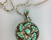 Outstanding Turquoise Seed Pearl Sterling Silver Filigree Locket Pendant
