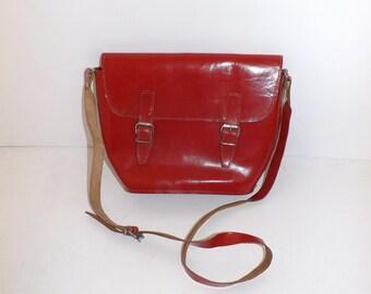 Vintage 1970s bright red real leather satchel handbag shoulder across the body bag
