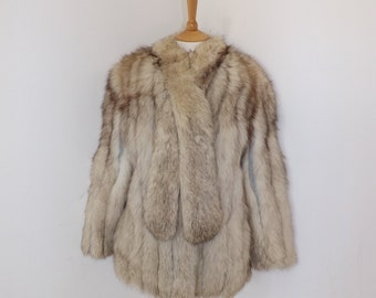 Vintage real arctic polar fox fur and grey suede coat jacket with built in scarf white silver size medium UK 10 12
