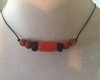 Bamboo Coral Apple Coral Red Horn Beads Boho Surfer Beach Unisex Adjustable Leather Necklace