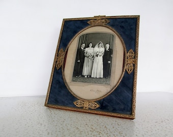 Ornate Brass Picture Frame Blue Background Oval Tabletop or Wall Mount