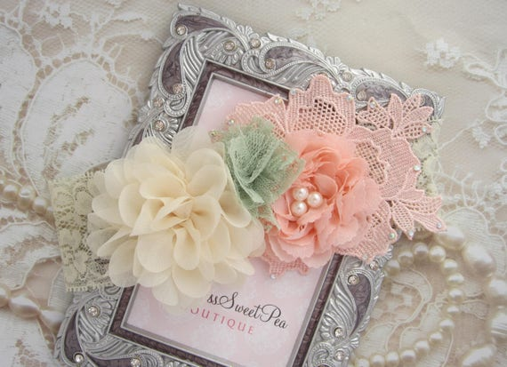 Peach, Ivory & Sage Cluster Flower Headband on 2 Inch Ivory Stretch Lace, photographer, newborn photo shoots by Lil Miss Sweet Pea