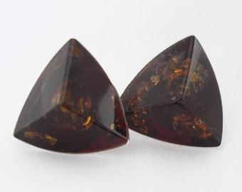 Modernist Amber Earrings - Sterling Silver - Signed VB 925 - Vintage 1940s
