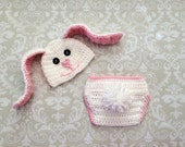 Crochet baby bunny set, size newborn - an adorable baby shower gift,  made to order