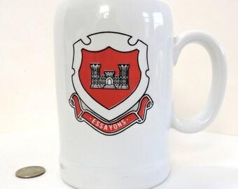 Vintage Stein,ESSAYONS,US-ArmyCorps Of Engineers-Regimental Crest,Collectible Stein,Ceramic Stein,Keepsake