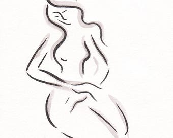 Original ink sketch. Black and white woman drawing. Brush art for bedroom.