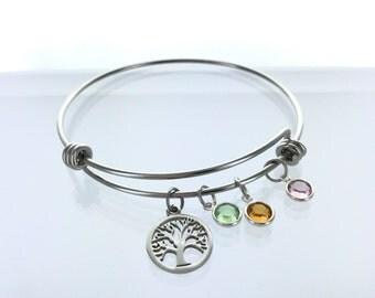 Birthstone Tree of Life Bracelet