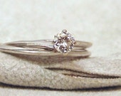 Vintage Diamond Solitaire 14K White Gold Engagement Ring Set, Wedding