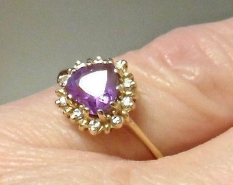 Sale! 14K Amethyst and Diamond .85 Carat Heart Ring, Yellow Gold, February Birthday, Promise Ring