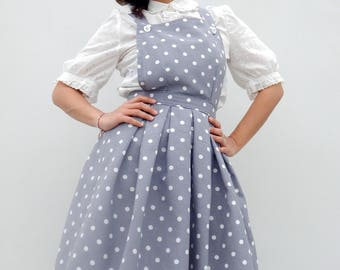 Custom made gray polka dot pinafore dress, Handmade dungaree dress