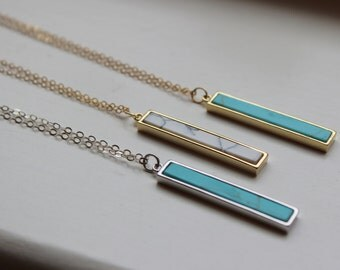 Howlite Necklace, Howlite Jewelry, Marble Necklace, Vertical Bar Necklace, Silver Turquoise Necklace, Dainty Gold Necklace, Bridesmaid Gift