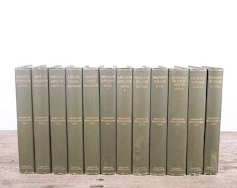 1899 American Statesmen 12 Volume Book Set / Houghton / Antique History Books / Old Books Vintage Books / Green Decorative Books