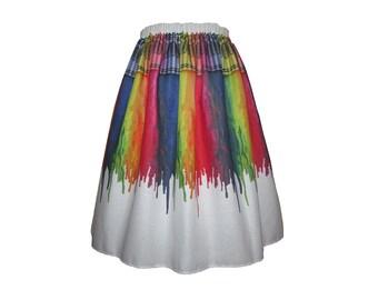 Melting Crayons Midi Skirt