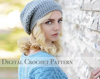 Hat Pattern / Basic Slouchy Hat Pattern 012 / Crochet Hat Pattern / Slouchy Beanie Hat Pattern