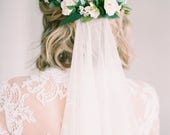 Ester Flower Comb- created with olive leaves, ivy greenery, white wax flowers and garden roses