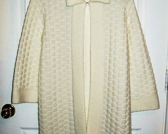 Vintage 1960s Ladies Off White Cardigan Sweater Jacket Banff Sweater Bee Small Only 10 USD
