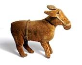 Antique c1900 Primitive Velveteen Toy Donkey, Americana Antiques, American Primitive Antiques, Straw Stuffed Donkey