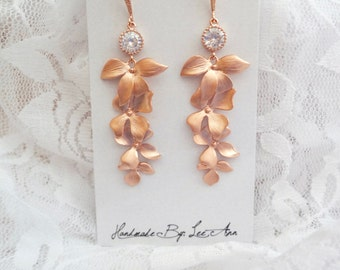 Rose gold orchid earrings, Cascading rose gold orchid earrings, Rose gold over sterling ear wires, Beach wedding earrings, Rose gold wedding