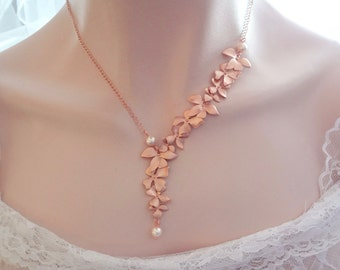Rose gold orchid pearl necklace, Brides rose gold pearl necklace, Cascading orchid necklace, Beach rose gold wedding necklace, Rose gold