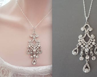 Crystal necklace ~Long chandelier necklace ~ Crystal wedding necklace~ Victorian wedding necklace -Brides crystal necklace ~ ABRI