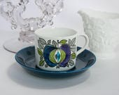 RESERVED for CHRIS              Rorstrand Sweden, EDEN, Mid Century Modern Espresso / Demitasse Cup & Saucer, Three Crowns