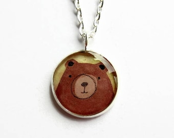 Brown Bear Necklace, Grizzly Bear Pendant, Animal Art Jewellery, Cute Gift for Her, Resin Jewelry, Small Pendant, UK Seller