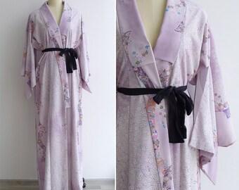 Vintage 50's Pale Lilac Cherry Blossom  Silk Kimono Robe