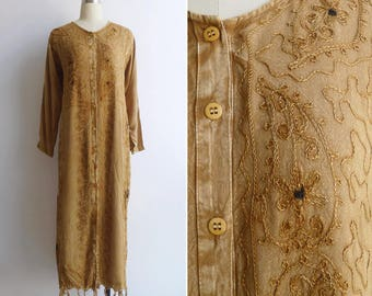 Vintage Indian Boho Maxi Dress with Embroidery & Fringe S M L