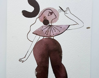 Curious Flower Lady Ink Painting Illustration