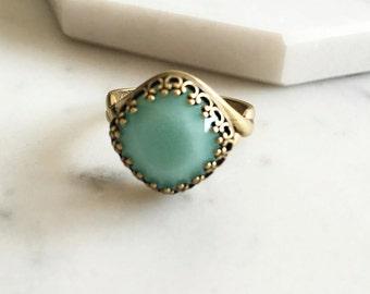 Alabaster Mint Swarovski Crystal Ring, Sea Foam Birthstone Ring Gift, Birthday, Sister, Friendship, Rustic, Whimsical, Fairy Tale