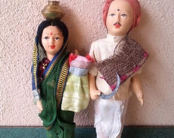 Cloth dolls from India vintage 60s set of 2