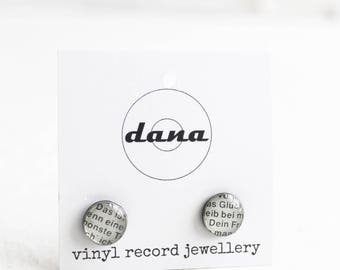 edgy stud earrings silver studs vinyl record ear studs 10mm studs ethical jewelry small resin studs surgical steel studs eco-friendly gift
