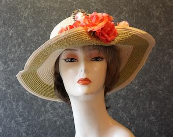 NEW LOWER PRICE! Kentucky Derby Hat, Garden Party Hat, Tea Party Hat, Easter Hat, Church Hat, Wedding Hat, Derby Hat Crème&Gold Hat 004