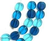 Blue beads mix in sea colors, Aqua Blue czech glass fire polished beads - 10x9mm - 15Pc - 1867