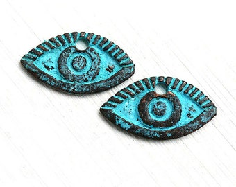 Eye pendant, Verdigris Green Patina on copper, Evil eye charms, Metal casting Greek beads, 23x13mm, Lead Free - 2pc - F257