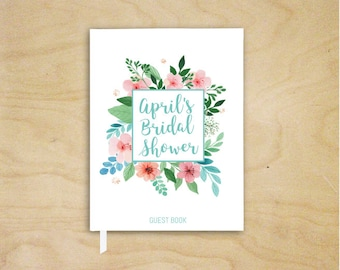 Bridal Shower Guest Book, Pink and Aqua Guest Book, Wedding Guest Book, Pink Floral Guest Book, Hardcover Floral Guest Book, Hen Party Book