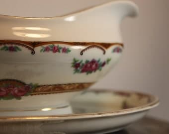Vintage Gravy Boat Made in Bohemia Czechoslovakia Porcelain Gravy Boat,Attached Under Plate,