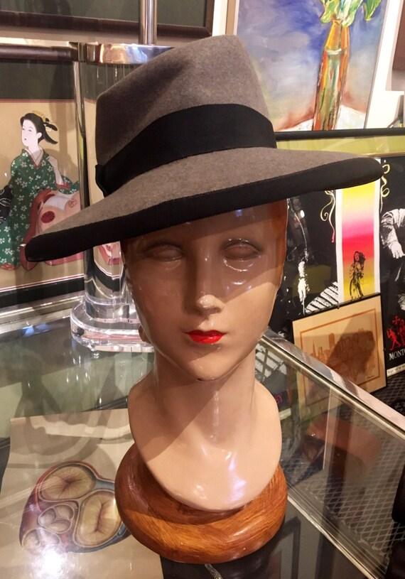 Vintage 1940s Women's Gray Felt Fedora by Stetson