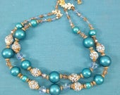 Vendome Double Strand Crystal and Beaded Necklace
