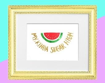 "Original Handmade Lino Cut Art Print - Signed & Mounted - 12x10"" - 'My kinda sugar high' - Watermelon Fruit - Straight Edge -Vegan - Gold"