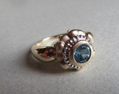 RESERVED 15% Off Sale! 14k Gold Blue Topaz Cocktail Ring 6mm Stone 5.0 Grams Sz 8 1/2 Fine Estate Jewelry